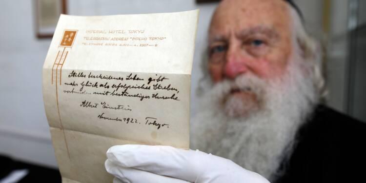 Une note d'Einstein sur le secret du bonheur va être vendue aux enchères