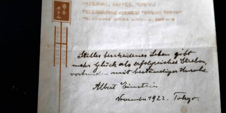 Une note manuscrite d'Einstein sur le bonheur adjugée à 1,56 M USD