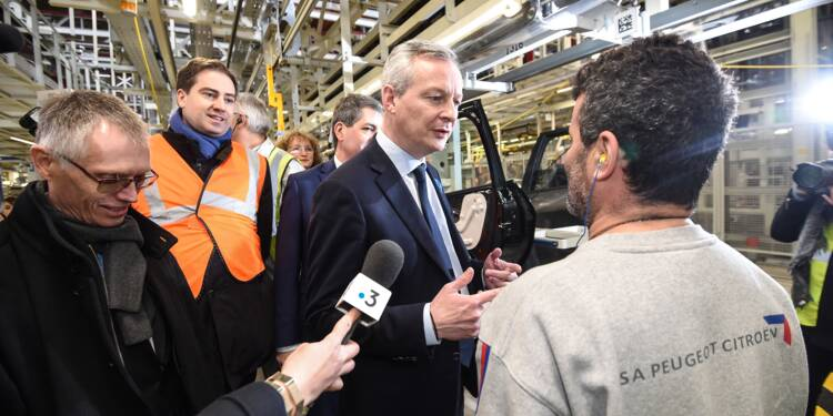 """Chahuté chez PSA, Le Maire """"ira jusqu'au bout"""" des réformes économiques"""