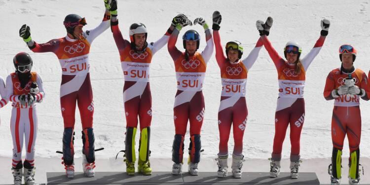 JO-2018: la Suisse championne olympique en slalom parallèle par équipes, la France 4e