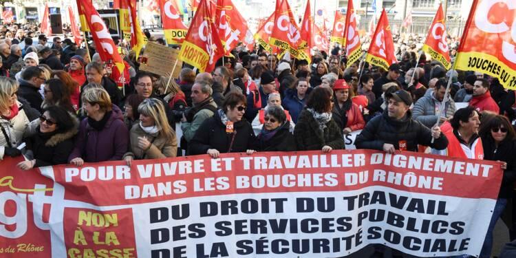 Cheminots et fonctionnaires convergent dans la rue contre les réformes du gouvernement
