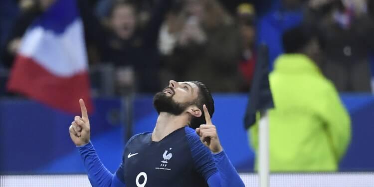 Equipe de France: Giroud égale Fontaine et Papin avec 30 buts