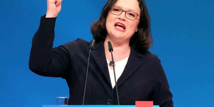 Andrea Nahles, première femme à la tête des sociaux-démocrates allemands