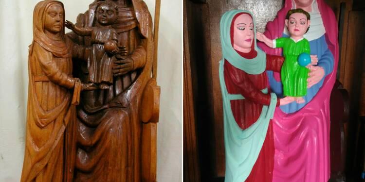 Une paroissienne espagnole fait du kitsch avec une Vierge du XVe