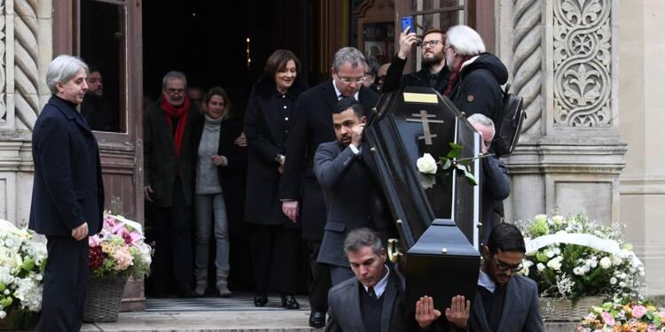 Brigitte Macron et Vladimir Cosma aux obsèques de Michel Legrand