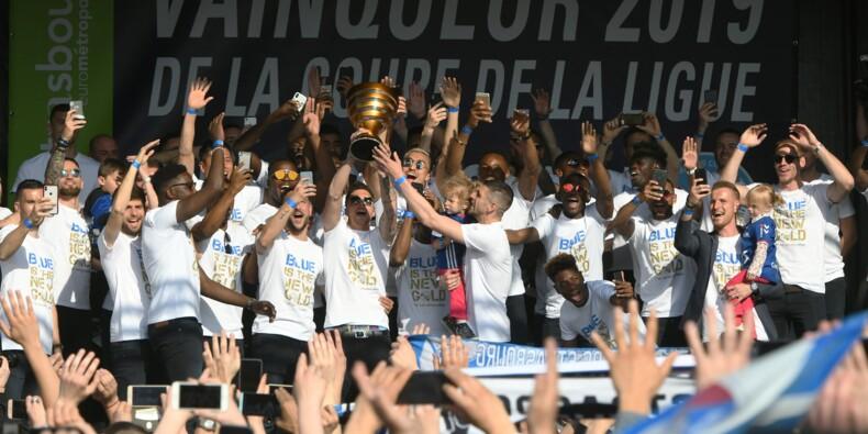 """Coupe de la Ligue: Strasbourg en liesse fête ses """"héros"""""""