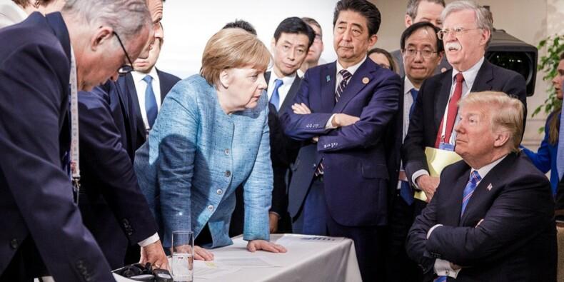 """Trump face à Merkel: la photo """"icônique"""" du G7 fait débat"""