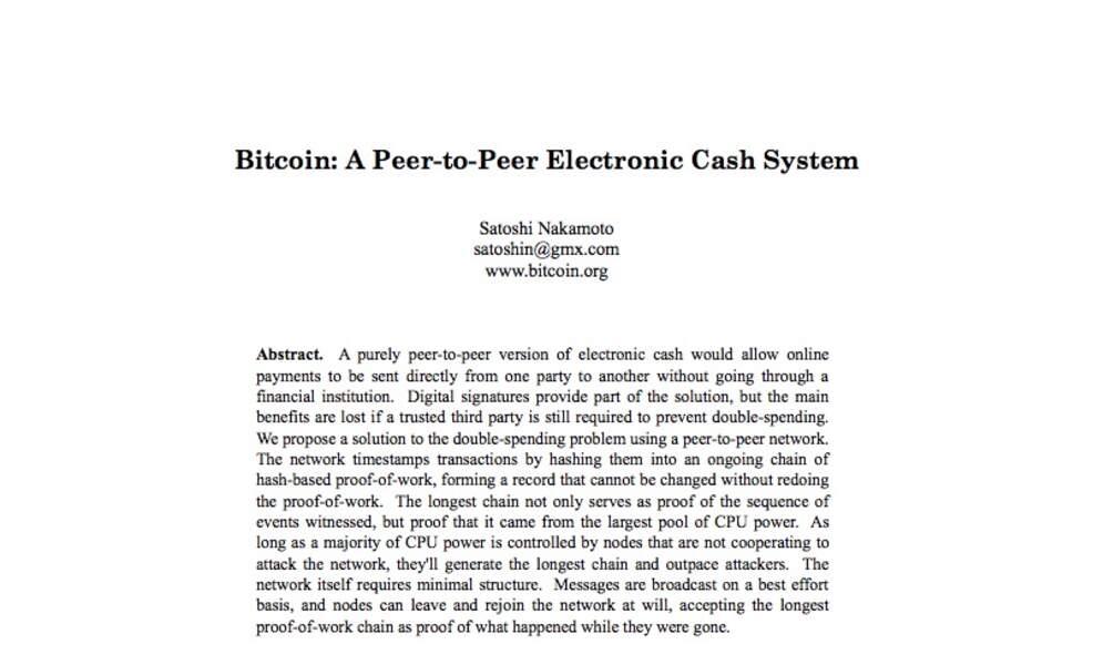 """31 octobre 2008 - Publication du """"white paper"""""""