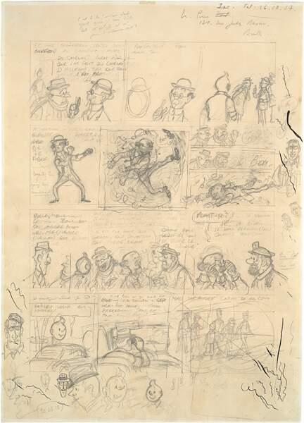 """Hergé, planche de l'album de Tintin """"Vol 714 pour Sydney"""""""