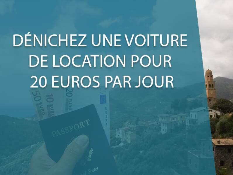 Dénichez une location de voiture pour 20 euros par jour