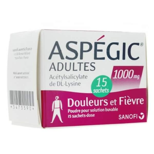 À éviter : Aspegic 1.000 Mg, 15 sachets pour solution buvable