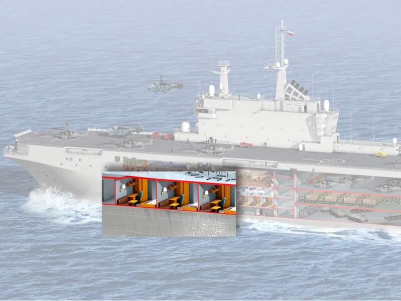 Des cabines confortables pour les 650 militaires embarqués