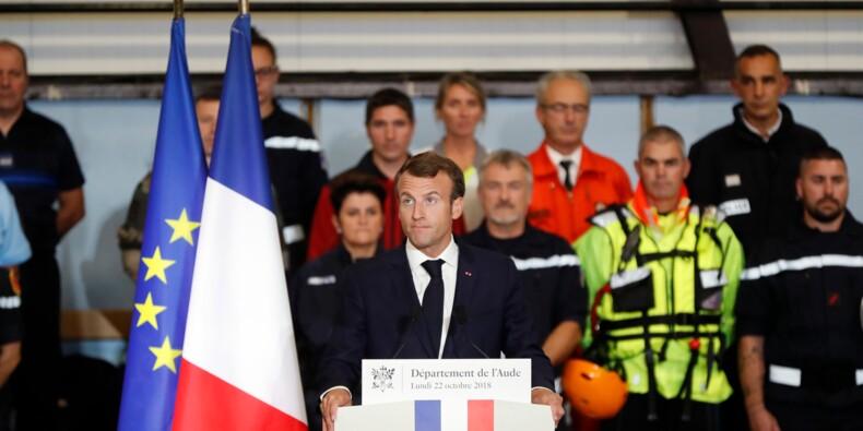 """Macron promet aux sinistrés de l'Aude d'aller """"vite"""" avec un fonds d'au moins 80 millions d'euros"""
