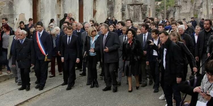 Parenthèse symbolique pour Macron à Oradour-sur-Glane