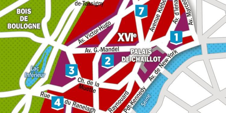 immobilier la carte des prix dans le 16 me arrondissement de paris. Black Bedroom Furniture Sets. Home Design Ideas