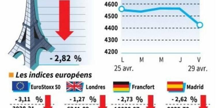 Les Bourses européennes clôturent en net recul