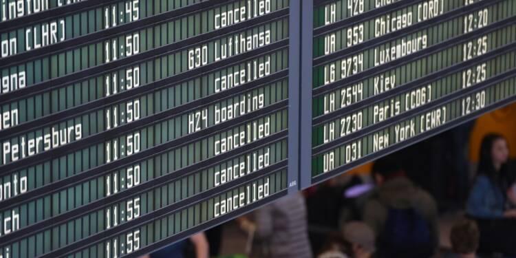 Allemagne: grèves dans six aéroports, plus de 1.200 vols annulés