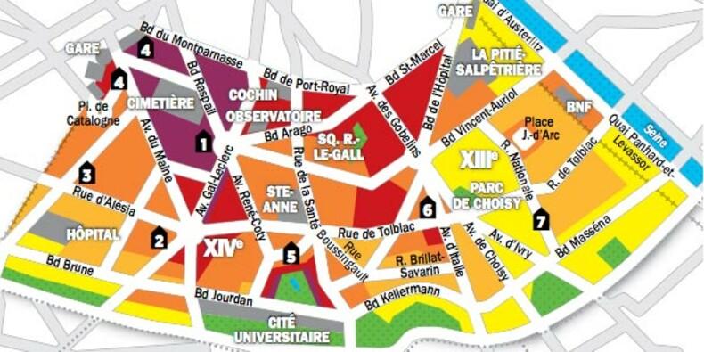 Immobilier à Paris : la cartes des prix des 13e et 14e arrondissements
