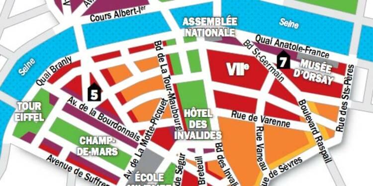 Immobilier à Paris : la carte des prix des 7e et 8e arrondissements