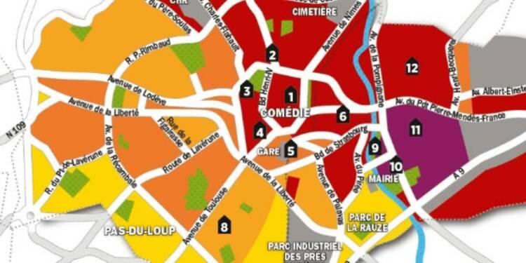 Immobilier la carte des prix de montpellier for Prix m2 montpellier