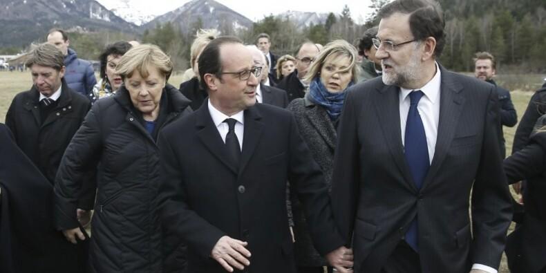Hollande, Merkel et Rajoy près du site du crash dans les Alpes