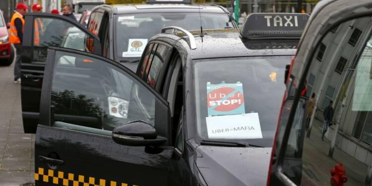 Manifestation de taxis européens contre Uber à Bruxelles
