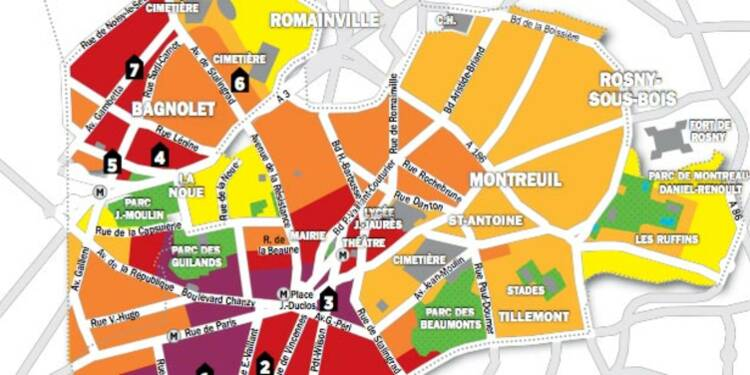 Immobilier en Ile-de-France : la carte des prix de Montreuil et Bagnolet
