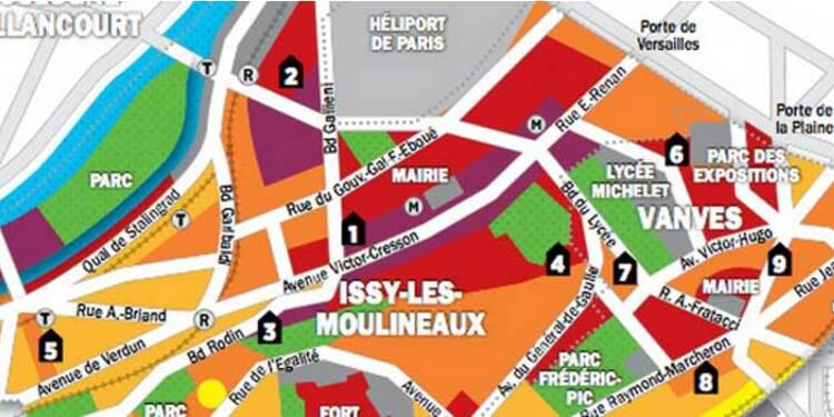 Immobilier en Ile-de-France : la carte des prix d'Issy-les-Moulineaux et de Vanves
