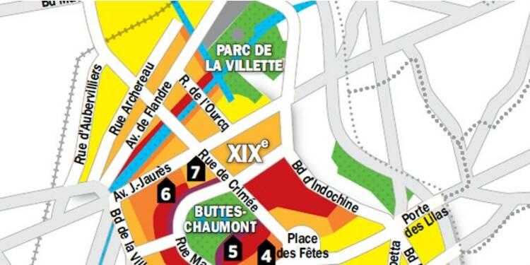 Carte Buttes Chaumont.Immobilier A Paris La Carte Des Prix Des 19e Et 20e