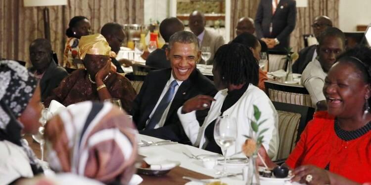 Dîner en famille pour Barack Obama à son arrivée au Kenya