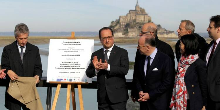 François Hollande salue le retour à la mer du Mont-Saint-Michel
