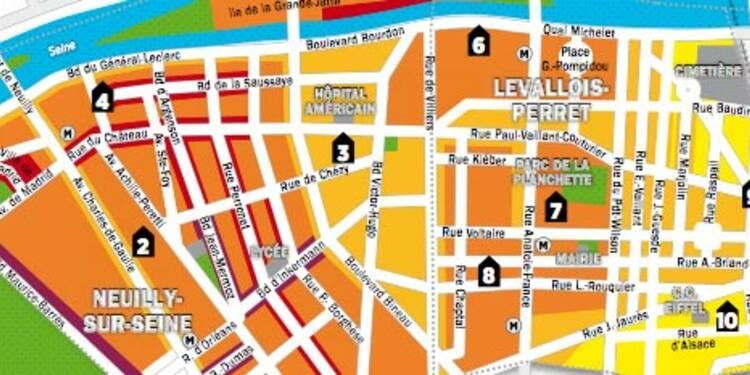 Immobilier en Ile-de-France : la carte des prix de Neuilly-sur-Seine et Levallois-Perret