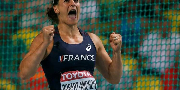 Athlétisme: la Française Mélina Robert-Michon en argent au disque