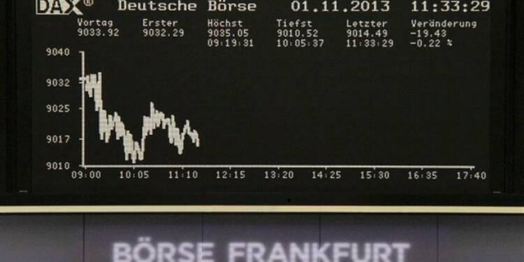 Les Bourses européennes en baisse à la mi-séance, sauf Londres