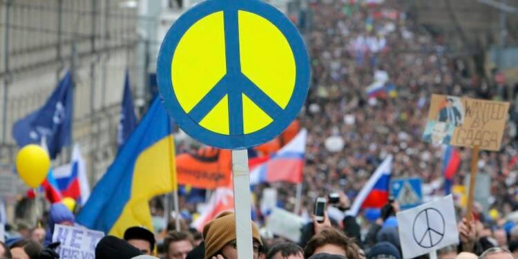 Manifestation à Moscou contre la politique de Poutine en Ukraine