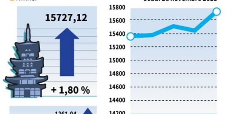 La Bourse de Tokyo finit en hausse de 1,8%, à un pic de six mois