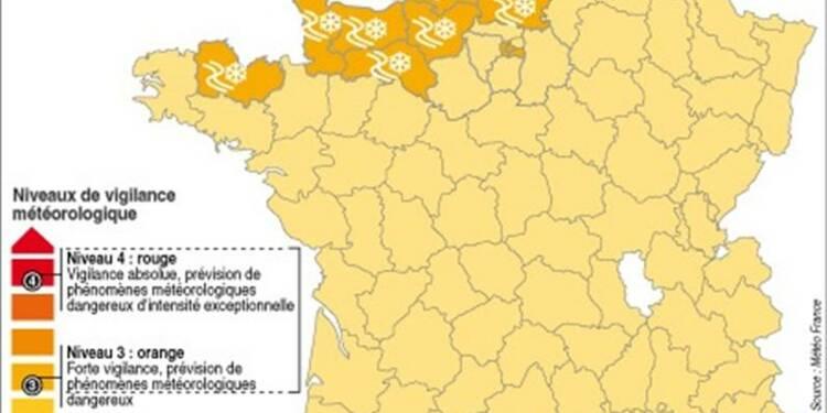 Huit départements en vigilance orange pour neige