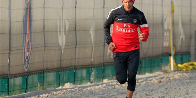 Football: David Beckham à l'entraînement avec le PSG