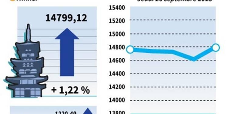 La Bourse de Tokyo finit en hausse de 1,22%