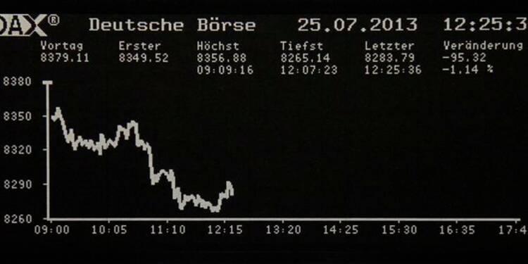 Les Bourses européennes creusent leurs pertes à la mi-journée
