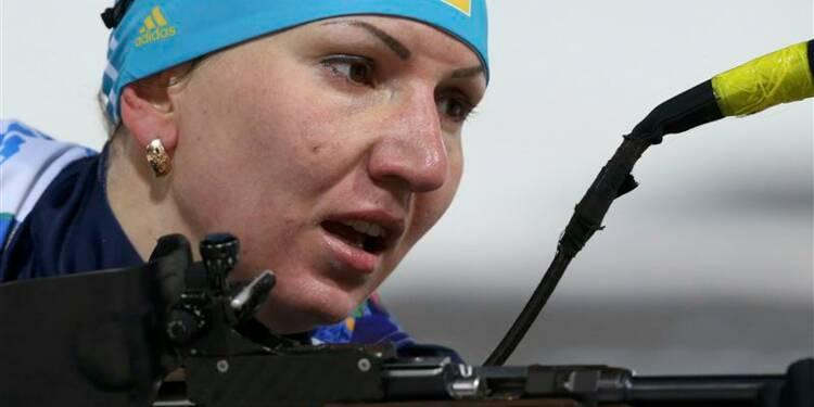 JO: l'Ukraine prend l'or du relais féminin de biathlon