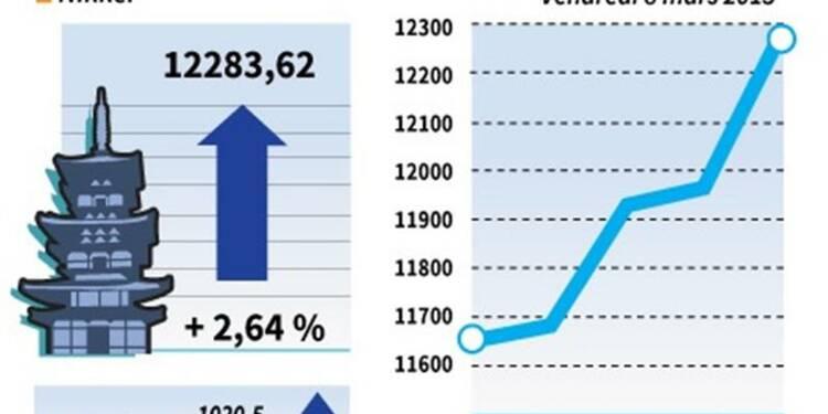 La Bourse de Tokyo finit en hausse de 2,64%