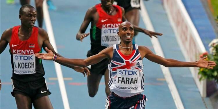 Athlétisme: Mohamed Farah réussit le doublé 5.000m-10.000m