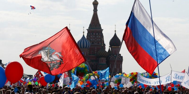 Premier défilé du 1er-Mai sur la place Rouge à Moscou depuis 1991