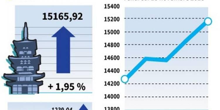La Bourse de Tokyo finit en hausse de 1,95%