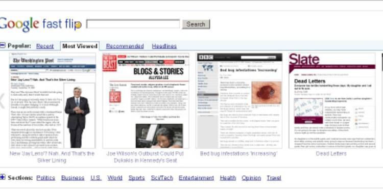 """""""Fast Flip"""", le nouvel outil de Google pour feuilleter la presse sur le Web"""