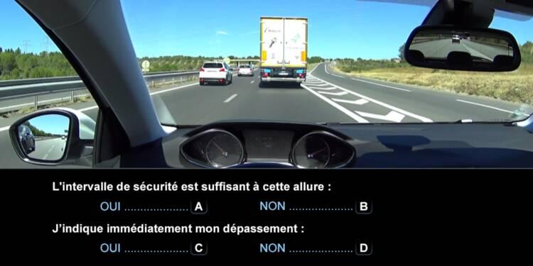 Code la route, question 10 : distance de sécurité et dépassement