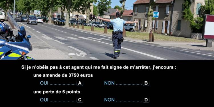 Code la route, question 3 : agent de police
