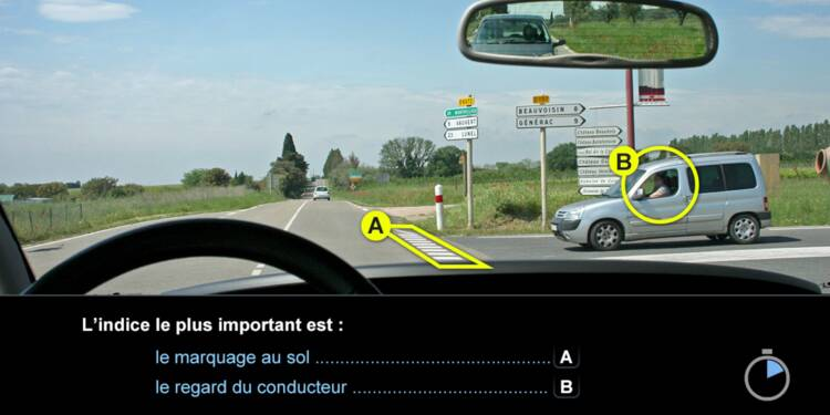 Code la route, question 14 : marquage au sol et regard du conducteur
