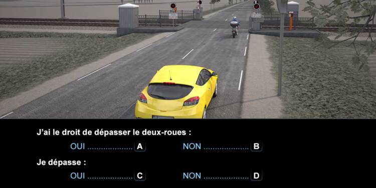 Code la route, question 11 : dépassement d'un scooter